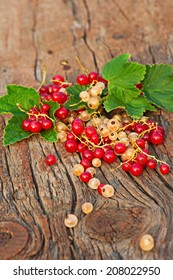 Red and white currant and green leaves on wooden background. Closeup. Selective focus.