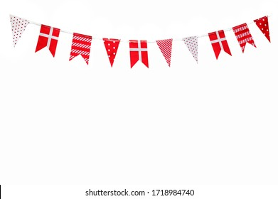 Red And White Cute Flags With Different Pattern Hanging Bunting