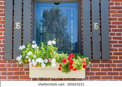 Red and white flowers in a window box whith shutters on brick wall