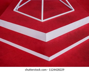 Red and White Geometry Shape of Stage