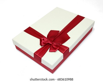 Red and White Gift Box with Ribbon.
