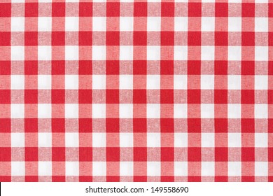 Beau Red And White Gingham Tablecloth Texture Background, High Detailed