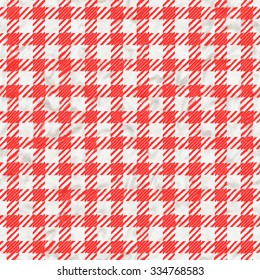 Red and white gingham tablecloth texture background seamless.