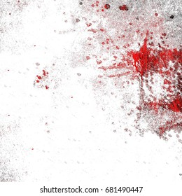 Red and white grunge background. The bloody texture of horror and destruction. White spots and cracks on a red background