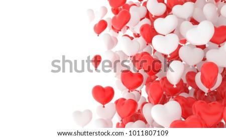 eb786fa5c68376 Red White Heart Balloons Over White Stock Photo (Edit Now ...