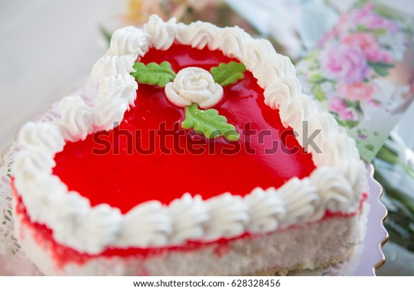 Swell Red White Heartshaped Cake Lily Flowers Stock Photo Edit Now Funny Birthday Cards Online Alyptdamsfinfo