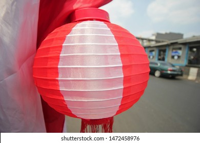 Red and white Lampion to celebrate Indonesian independence day at 17 August