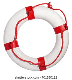 Red and white lifebuoy isolated against white background