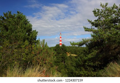 Red and white lighthouse. Island Ameland.