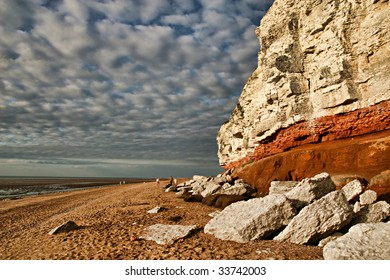 Red and white limestone cliffs at the Hunstanton Beach, Norfolk, England