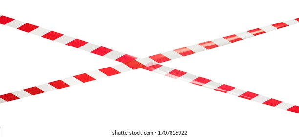 Red and white lines of barrier tape, protects for no entry, isolated on white background