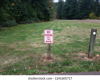 red and white no parking any time on grass sign