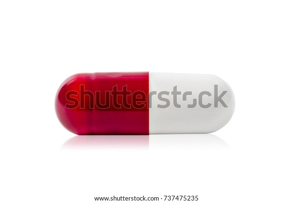 51495766 Red and white pills capsule isolated on white background, Save clipping  path.