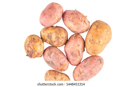 Red and white potatoes isolated on white background. The view from the top. Organic food background.