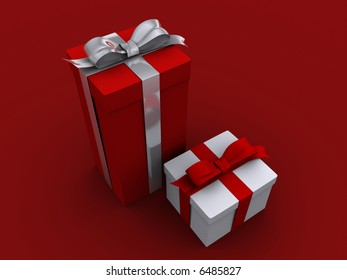 A red and a white present box wit bow - 3d render