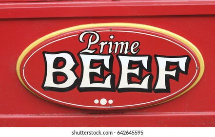 RED AND WHITE  PRIME BEEF SIGN