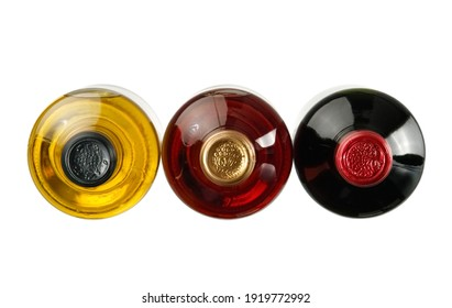 Red, white and rose wine bottles, top view