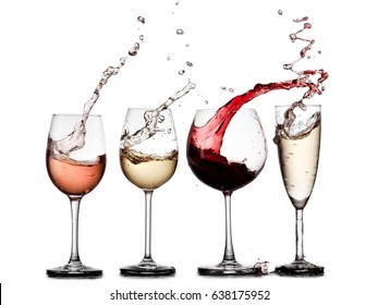 Red, white, rose wine and champagne glasses up