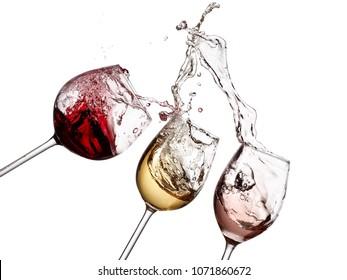 Red, white and rose wine glasses splash