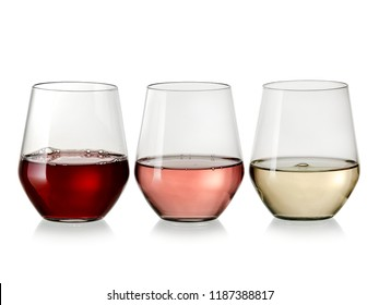 Red, white and rose wine glasses in line