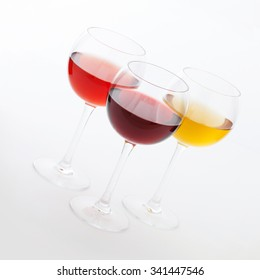 Red, white and rose wine glasses up