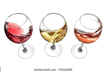 Red, white and rose wine glasses plash, view above
