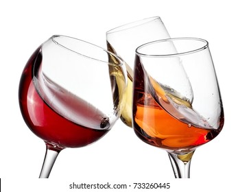 red, white and rose wine plash