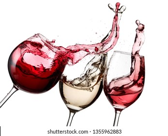 Red, white and rose wine splash
