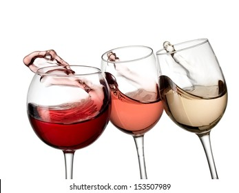 Red, white and rose wine waves