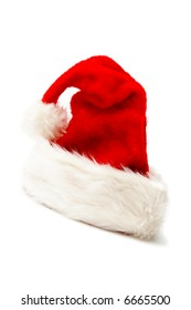 Red and white Santa Claus hat on a white background