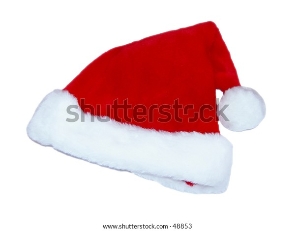 Red and white santa hat isolated on white background