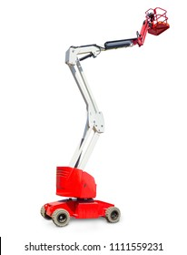 Red and white self propelled wheeled articulated lift with telescoping boom and basket on a white background