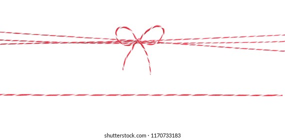 Red white string with bow,christmas wrap decoration ,package rope isolated.