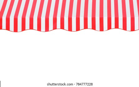 red and white strip awning in front of the shop