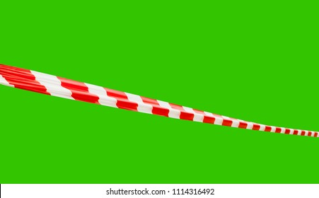 Red and White Striped Barrier Tape Line at Angle Isolated on Green Screen Chroma Key