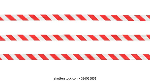 Red and White Striped Barrier Tape Lines Isolated on White