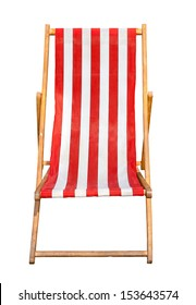 Red and white striped deckchair isolated on a white background