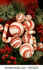 Red and white striped decorations for christmas tree.