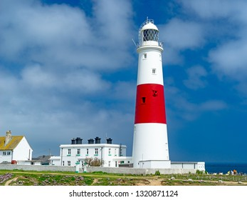The red and white striped lighthouse at Portland Bill Dorset England UK Europe
