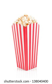 Red white striped popcorn box isolated