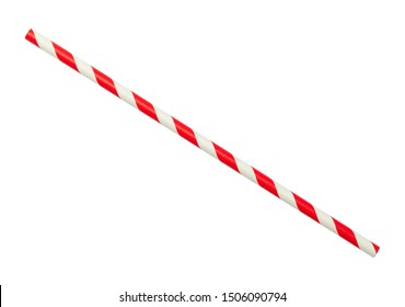 Red and White Striped Straw Cut Out On White.