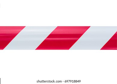 red and white stripes tape isolate on white background, warning tape