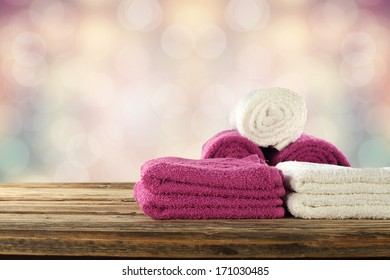 red and white towels