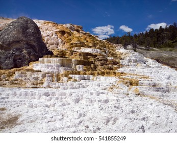 Red and white travertine terrace calcium carbonate deposits, blue sky at Mammoth Hot Springs, Yellowstone National Park
