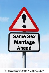 Red and white triangular road sign with an indication of Same Sex Marriage ahead concept against a partly cloudy sky background