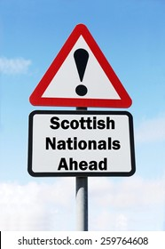 Red and white triangular road sign with a Scottish National Party ahead concept against a partly cloudy sky background