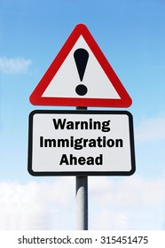 Red and white triangular road sign with a warning of an Immigration Ahead concept against a partly cloudy sky background
