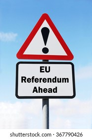 Red and white triangular road sign with an EU Referendum Ahead concept against a partly cloudy sky background
