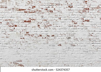Red White Wall Background. Old Grungy Brick Wall Horizontal Texture. Brickwall Backdrop. Stonewall Wallpaper. Vintage Wall With Peeled Plaster. Retro Grunge Wall. Brick Wall With White Uneven Stucco