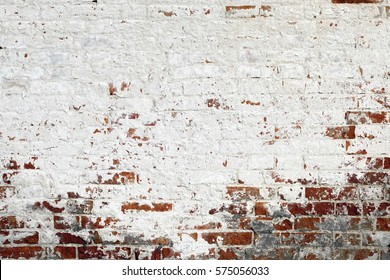 Red White Wall Background. Old Grungy Brick Wall Horizontal Texture. Brickwall Backdrop. Stonewall Wallpaper. Vintage Wall With Peeled Plaster. Brick Wall With White Uneven Stucco